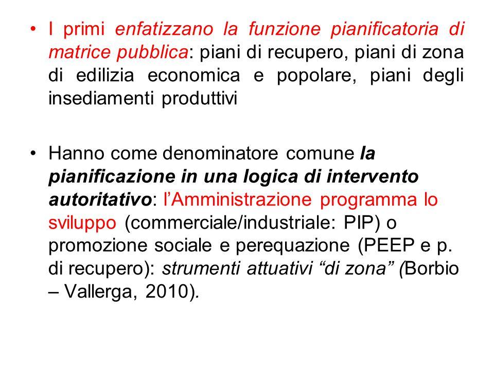 I primi enfatizzano la funzione pianificatoria di matrice pubblica: piani di recupero, piani di zona di edilizia economica e popolare, piani degli insediamenti produttivi