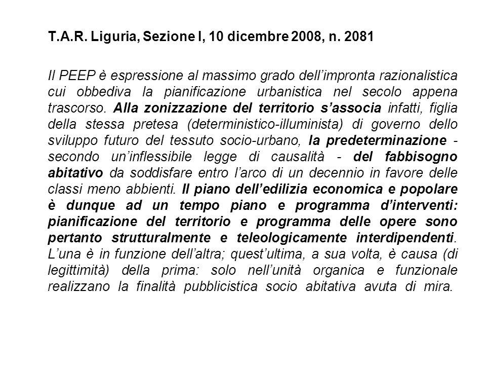 T. A. R. Liguria, Sezione I, 10 dicembre 2008, n