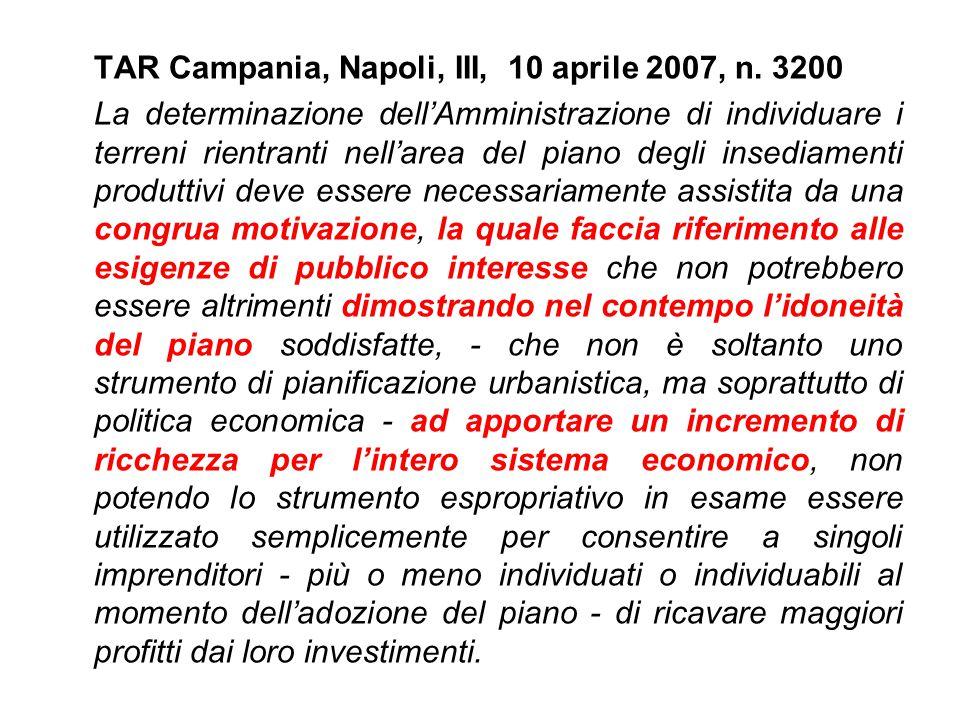 TAR Campania, Napoli, III, 10 aprile 2007, n