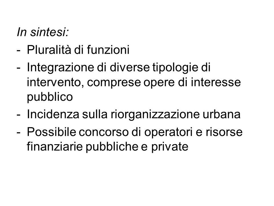 In sintesi: Pluralità di funzioni. Integrazione di diverse tipologie di intervento, comprese opere di interesse pubblico.