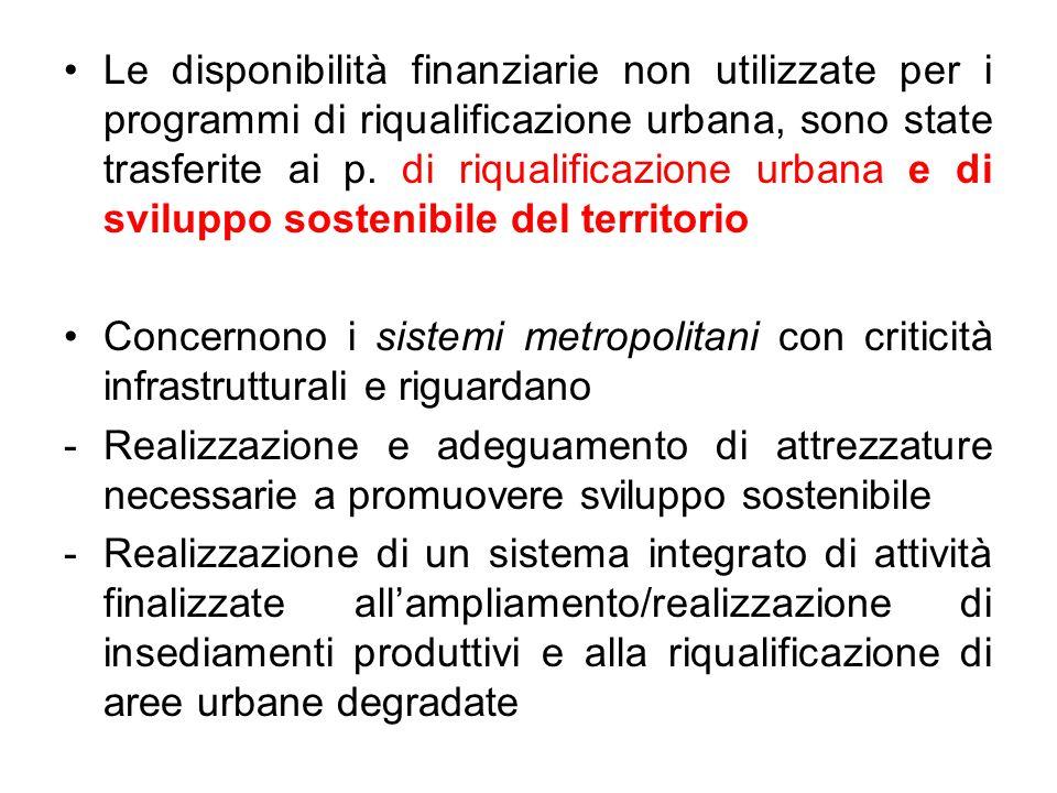 Le disponibilità finanziarie non utilizzate per i programmi di riqualificazione urbana, sono state trasferite ai p. di riqualificazione urbana e di sviluppo sostenibile del territorio