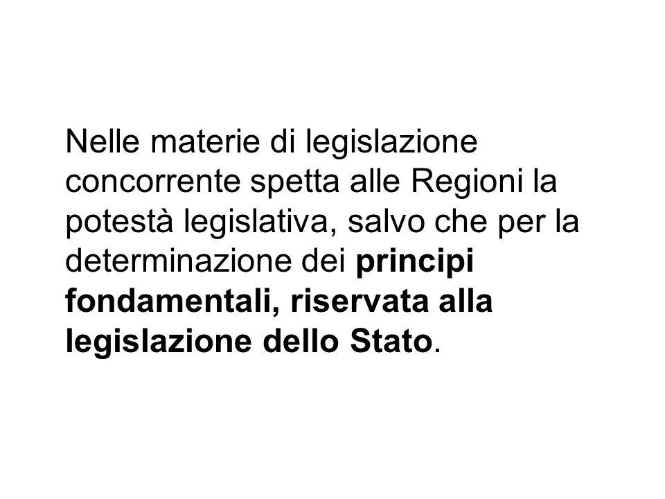 Nelle materie di legislazione concorrente spetta alle Regioni la potestà legislativa, salvo che per la determinazione dei principi fondamentali, riservata alla legislazione dello Stato.