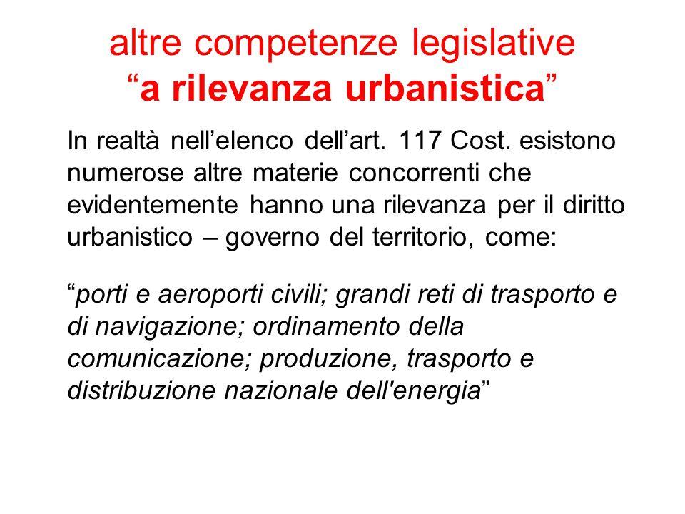 altre competenze legislative a rilevanza urbanistica