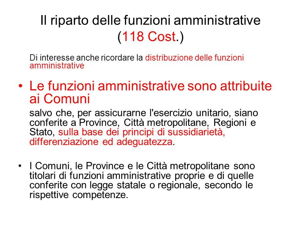 Il riparto delle funzioni amministrative (118 Cost.)