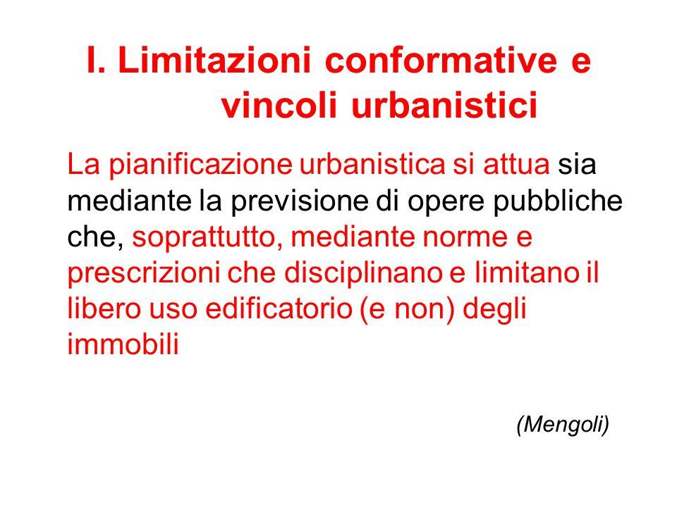 I. Limitazioni conformative e vincoli urbanistici