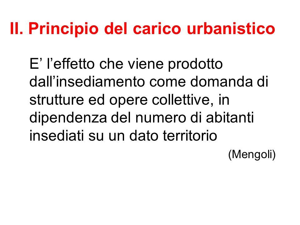 II. Principio del carico urbanistico