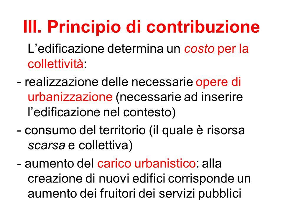 III. Principio di contribuzione