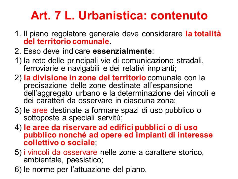 Art. 7 L. Urbanistica: contenuto