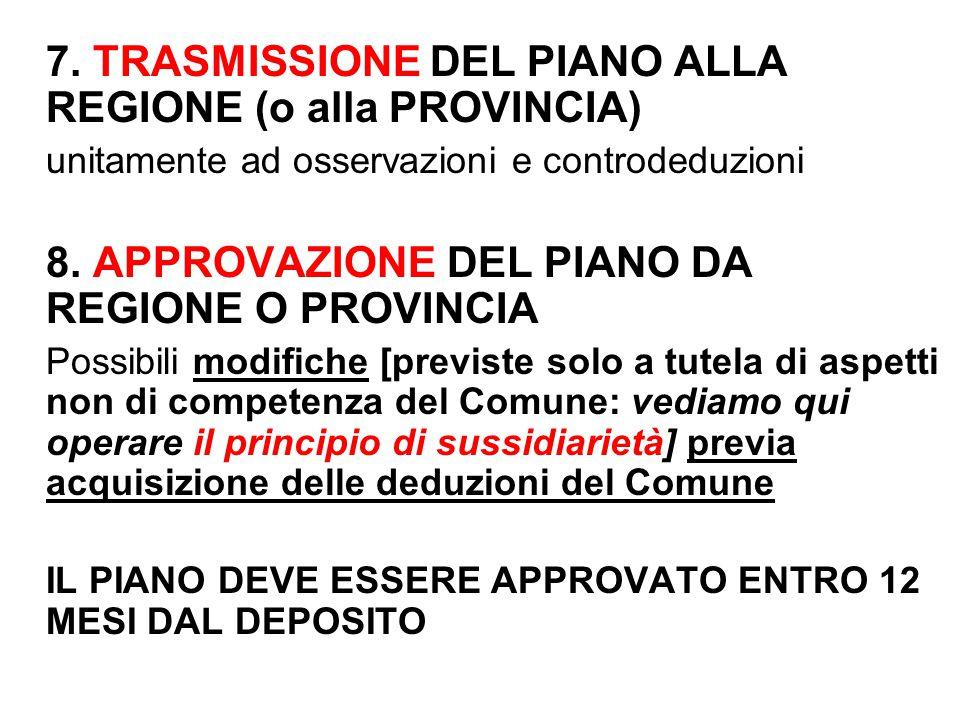 7. TRASMISSIONE DEL PIANO ALLA REGIONE (o alla PROVINCIA)