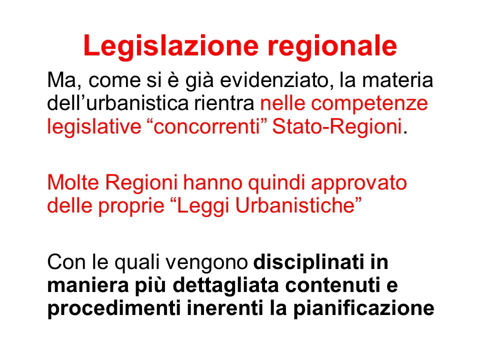 Legislazione regionale