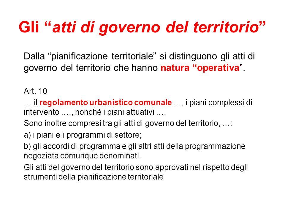 Gli atti di governo del territorio