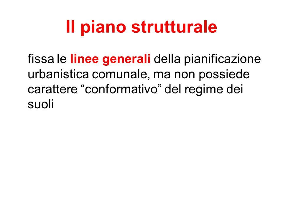 Il piano strutturale fissa le linee generali della pianificazione urbanistica comunale, ma non possiede carattere conformativo del regime dei suoli.