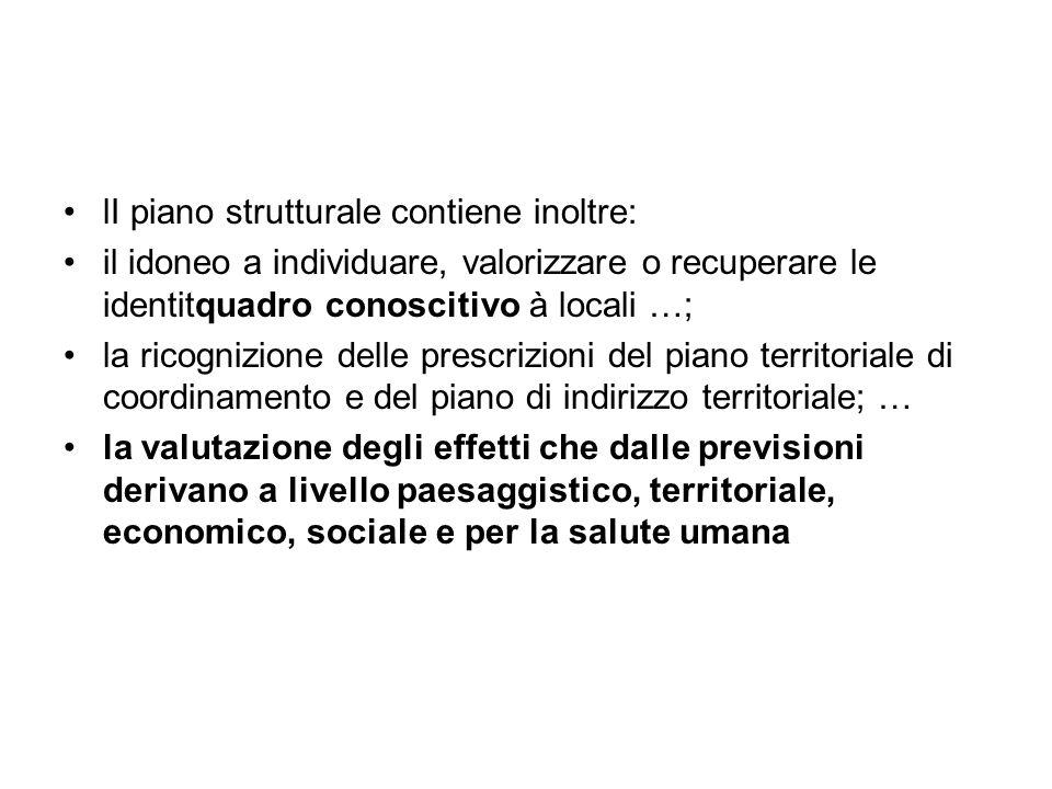 lI piano strutturale contiene inoltre: