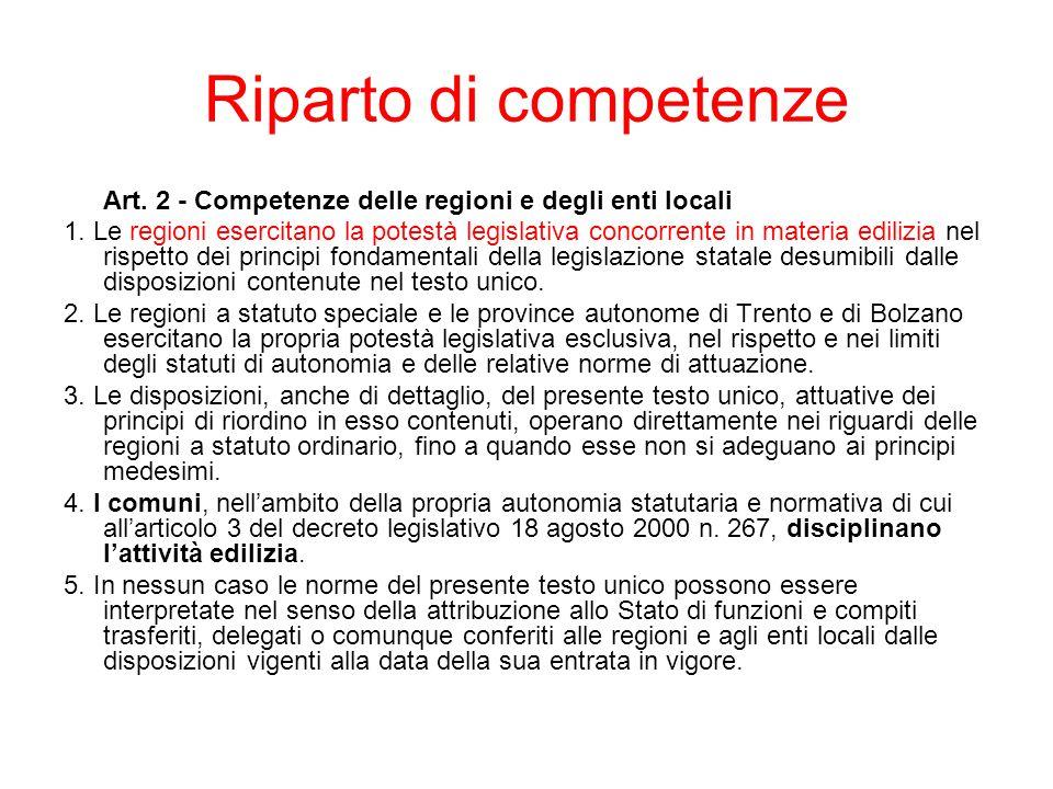 Riparto di competenze Art. 2 - Competenze delle regioni e degli enti locali.