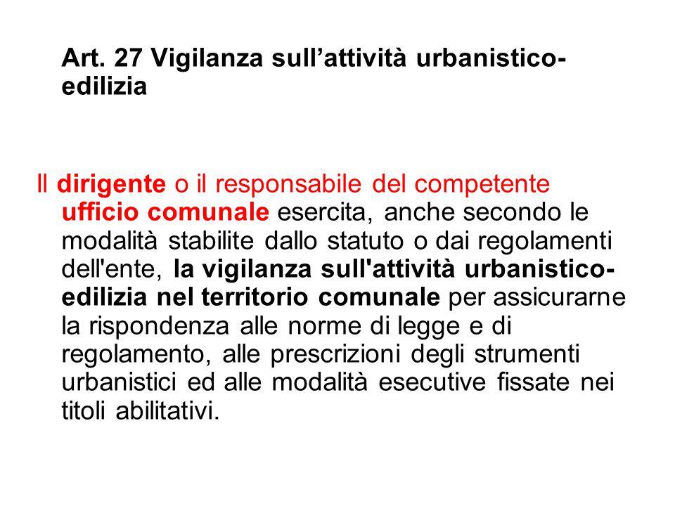Art. 27 Vigilanza sull'attività urbanistico-edilizia
