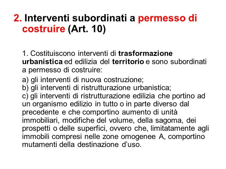 2. Interventi subordinati a permesso di costruire (Art. 10)