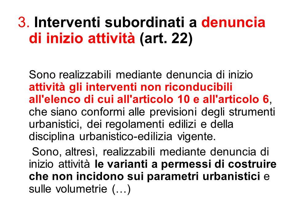 3. Interventi subordinati a denuncia di inizio attività (art. 22)