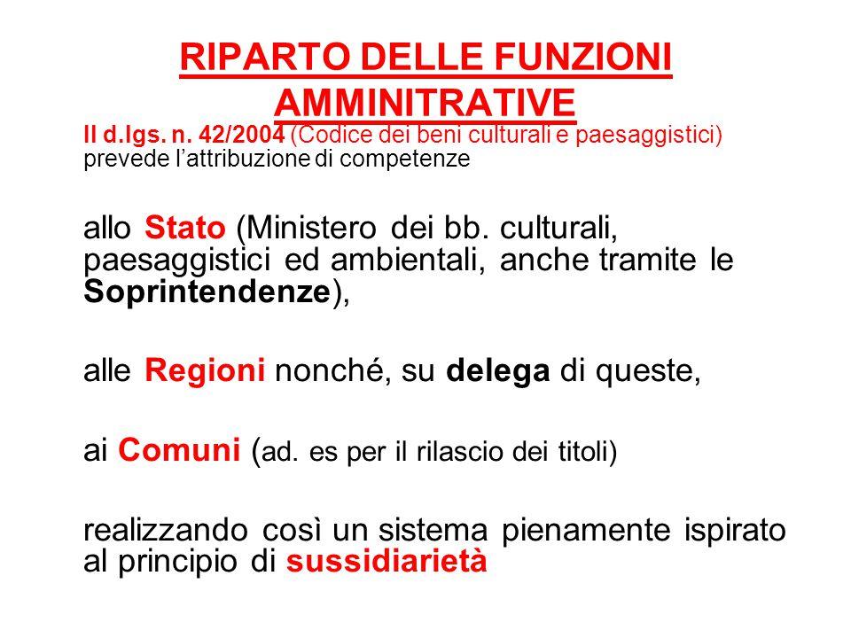 RIPARTO DELLE FUNZIONI AMMINITRATIVE