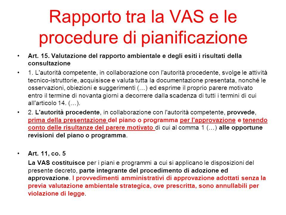 Rapporto tra la VAS e le procedure di pianificazione