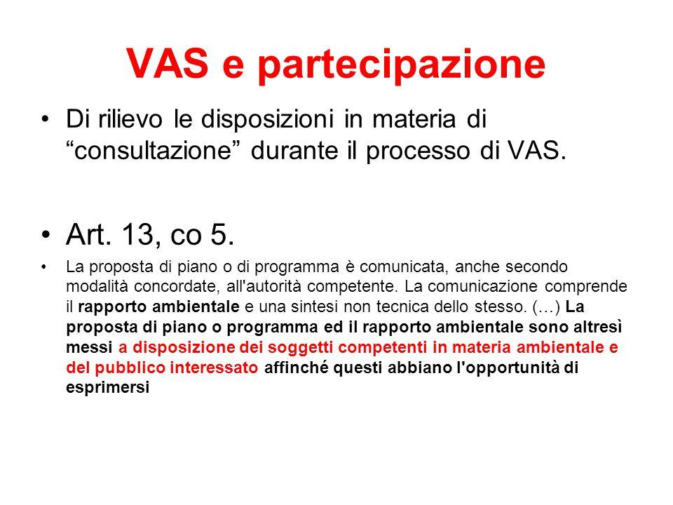 VAS e partecipazione Art. 13, co 5.