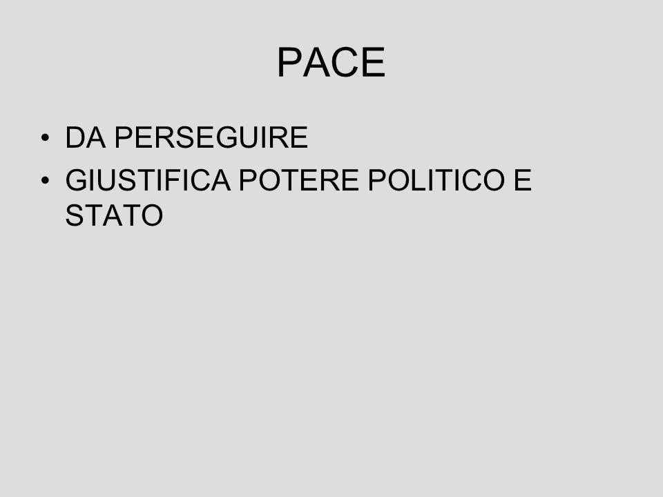 PACE DA PERSEGUIRE GIUSTIFICA POTERE POLITICO E STATO