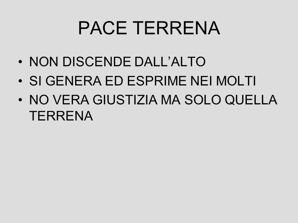 PACE TERRENA NON DISCENDE DALL'ALTO SI GENERA ED ESPRIME NEI MOLTI