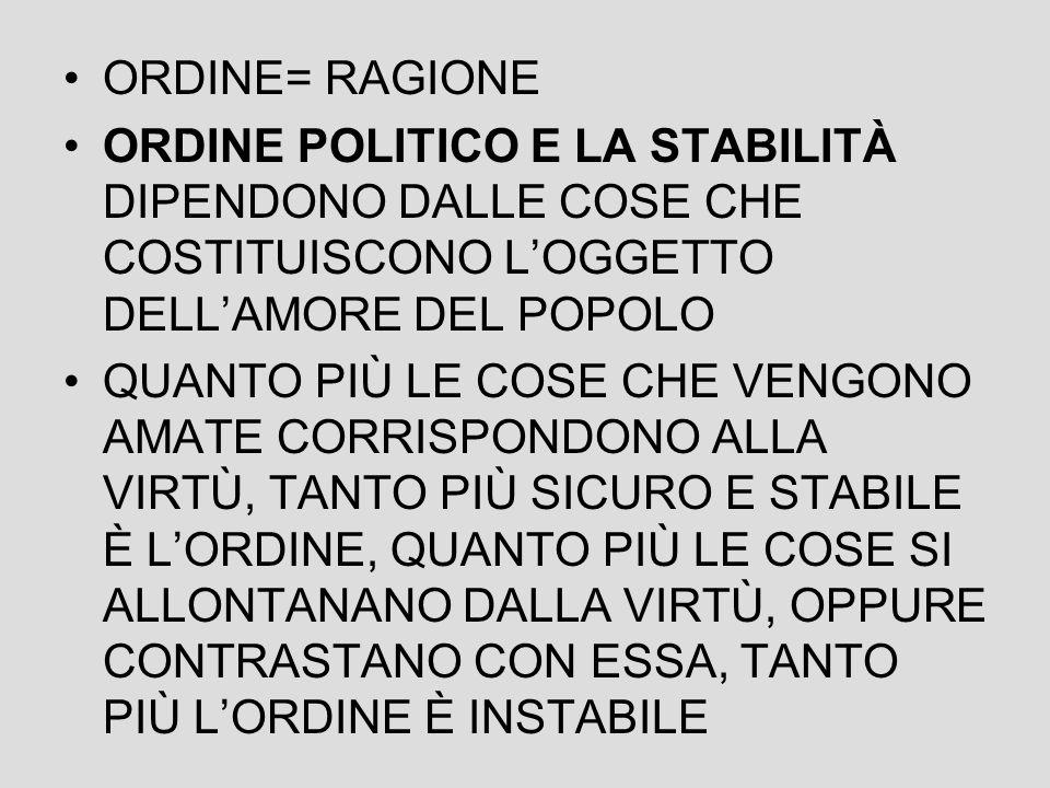 ORDINE= RAGIONE ORDINE POLITICO E LA STABILITÀ DIPENDONO DALLE COSE CHE COSTITUISCONO L'OGGETTO DELL'AMORE DEL POPOLO.