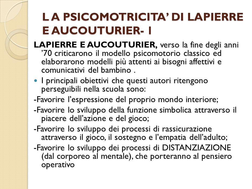 L A PSICOMOTRICITA' DI LAPIERRE E AUCOUTURIER- 1