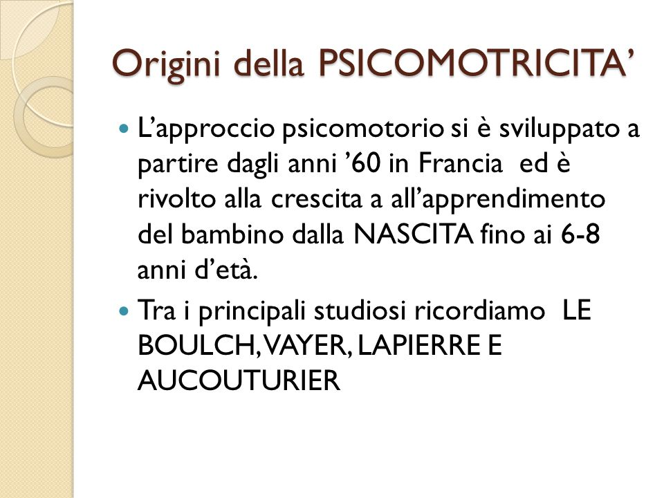 Origini della PSICOMOTRICITA'