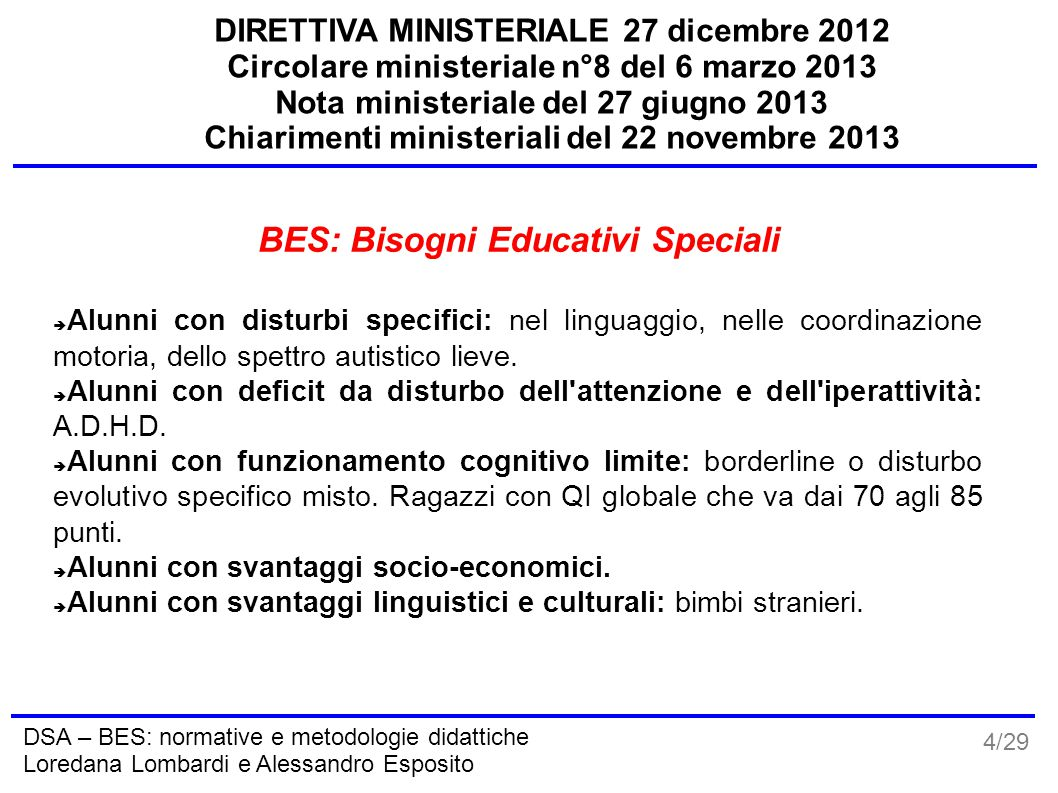 BES: Bisogni Educativi Speciali