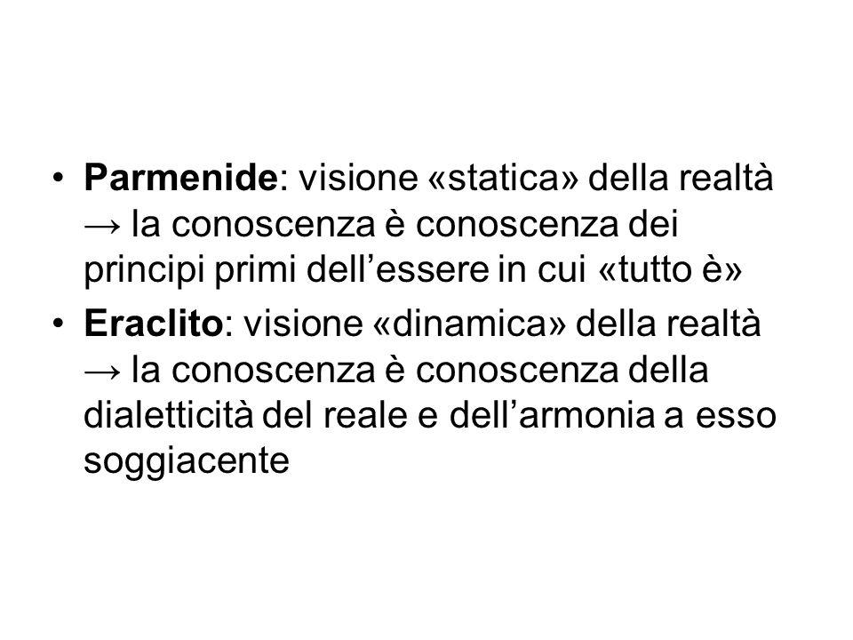 Parmenide: visione «statica» della realtà → la conoscenza è conoscenza dei principi primi dell'essere in cui «tutto è»