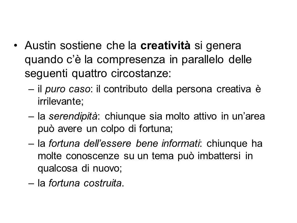 Austin sostiene che la creatività si genera quando c'è la compresenza in parallelo delle seguenti quattro circostanze: