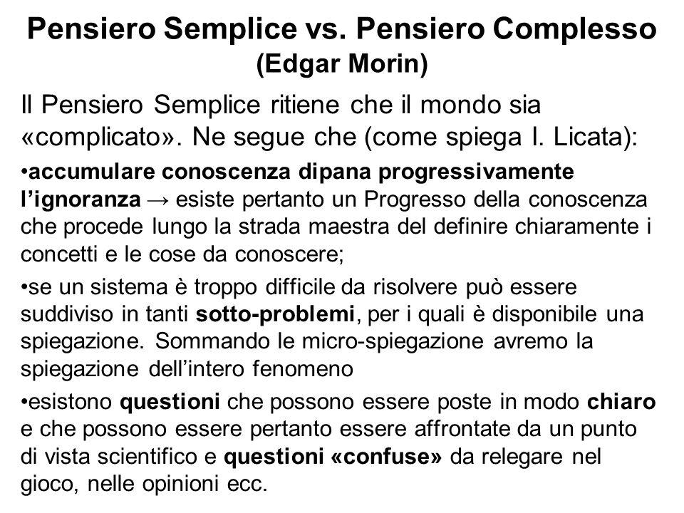 Pensiero Semplice vs. Pensiero Complesso (Edgar Morin)