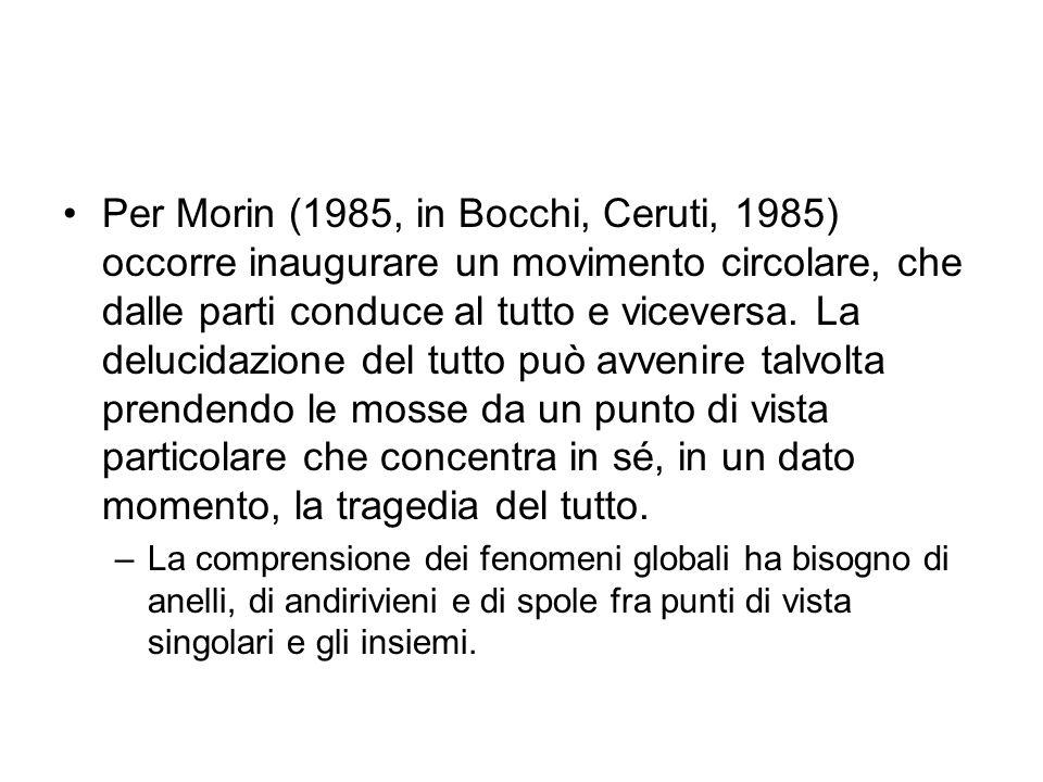 Per Morin (1985, in Bocchi, Ceruti, 1985) occorre inaugurare un movimento circolare, che dalle parti conduce al tutto e viceversa. La delucidazione del tutto può avvenire talvolta prendendo le mosse da un punto di vista particolare che concentra in sé, in un dato momento, la tragedia del tutto.