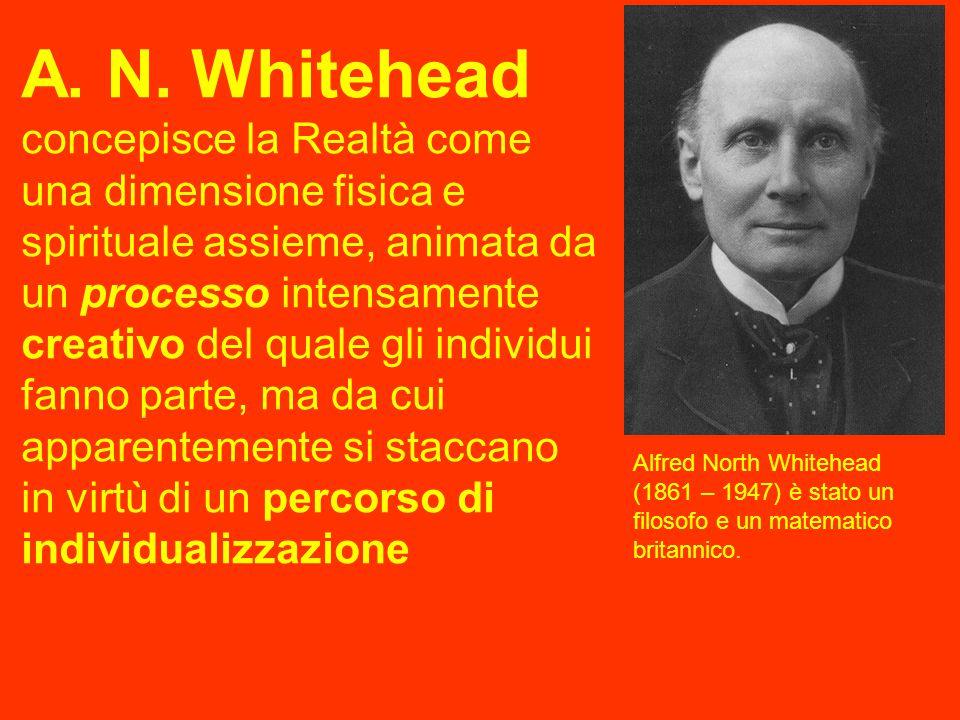 A. N. Whitehead concepisce la Realtà come una dimensione fisica e spirituale assieme, animata da un processo intensamente creativo del quale gli individui fanno parte, ma da cui apparentemente si staccano in virtù di un percorso di individualizzazione