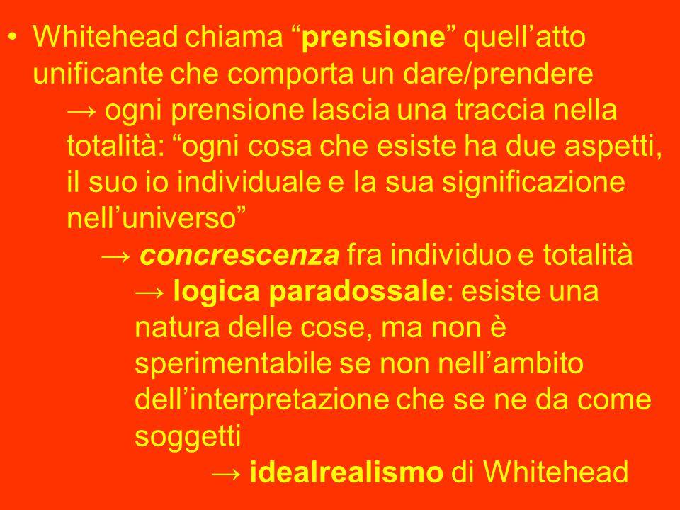 Whitehead chiama prensione quell'atto unificante che comporta un dare/prendere