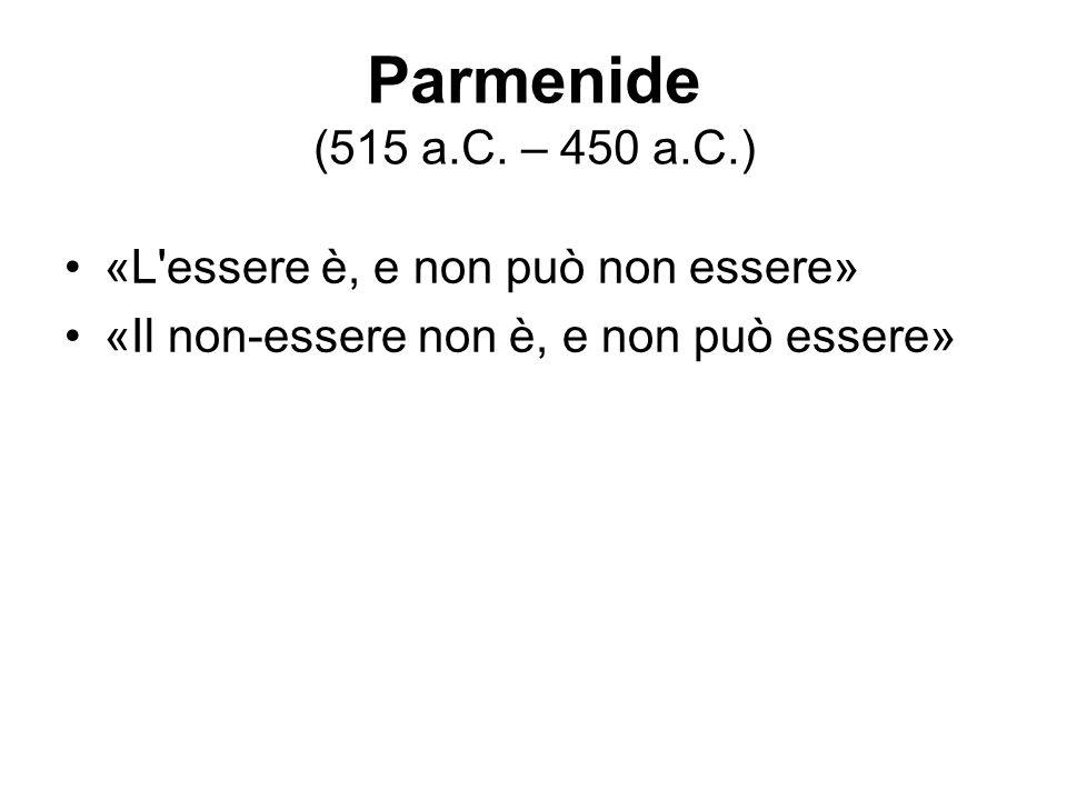 Parmenide (515 a.C. – 450 a.C.) «L essere è, e non può non essere»