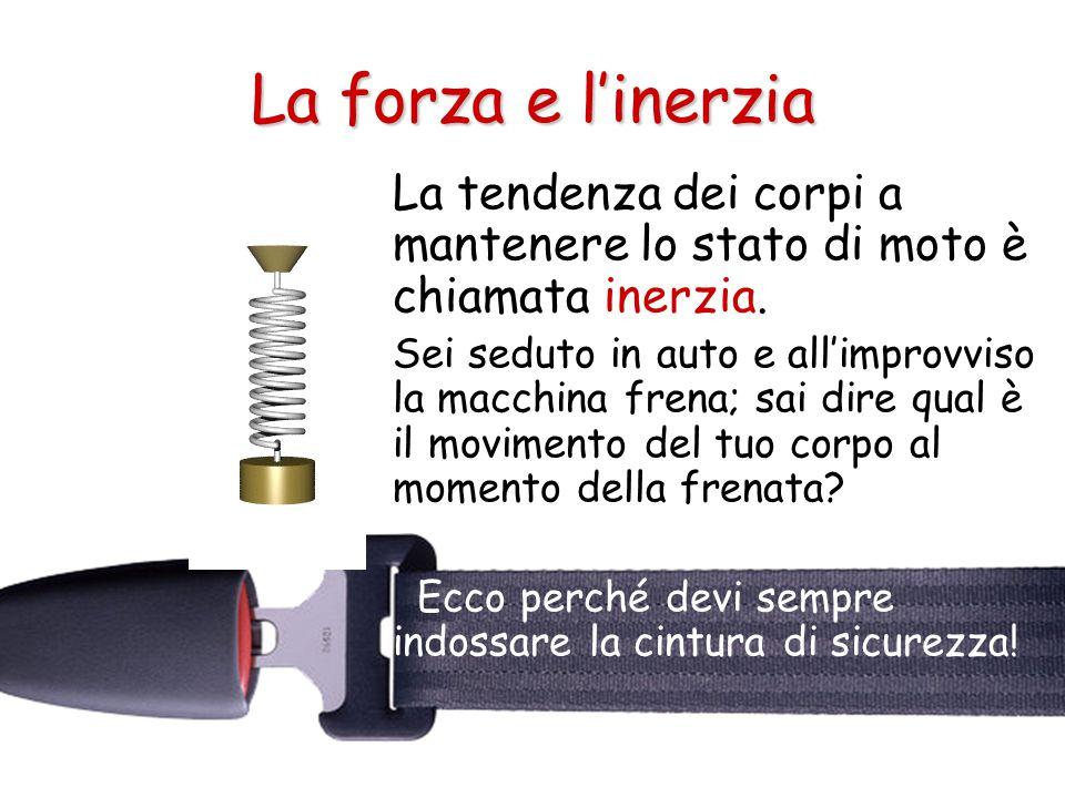 La forza e l'inerzia La tendenza dei corpi a mantenere lo stato di moto è chiamata inerzia.