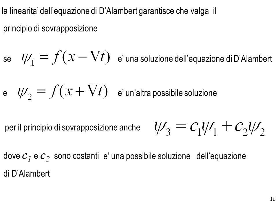 la linearita' dell'equazione di D'Alambert garantisce che valga il