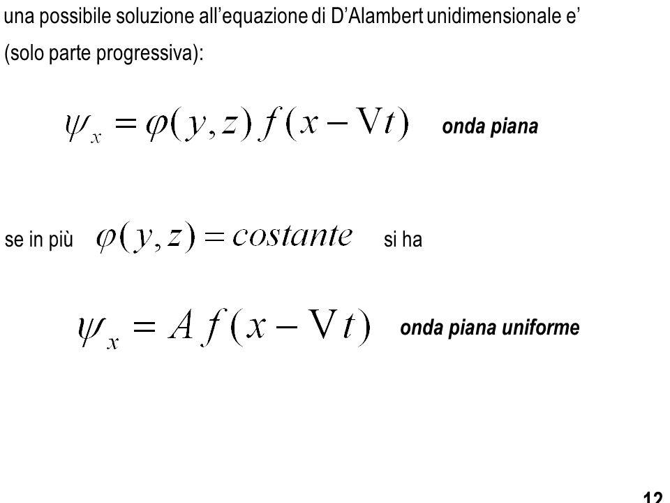 una possibile soluzione all'equazione di D'Alambert unidimensionale e'