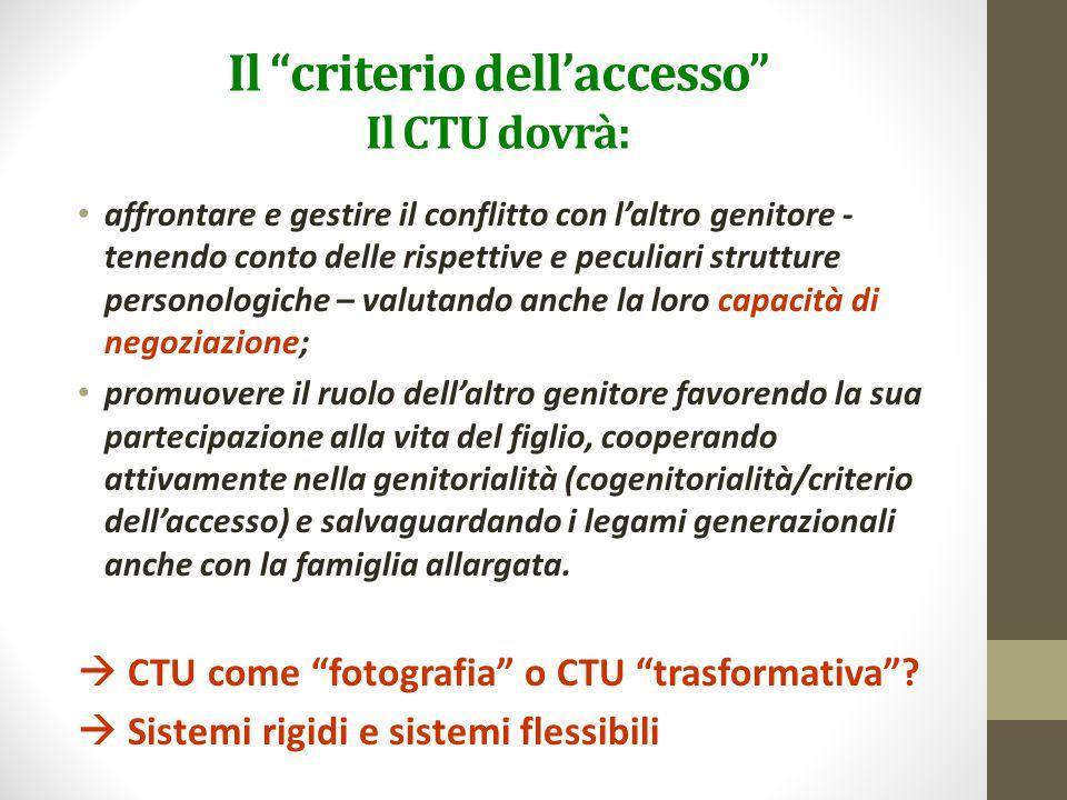 Il criterio dell'accesso Il CTU dovrà: