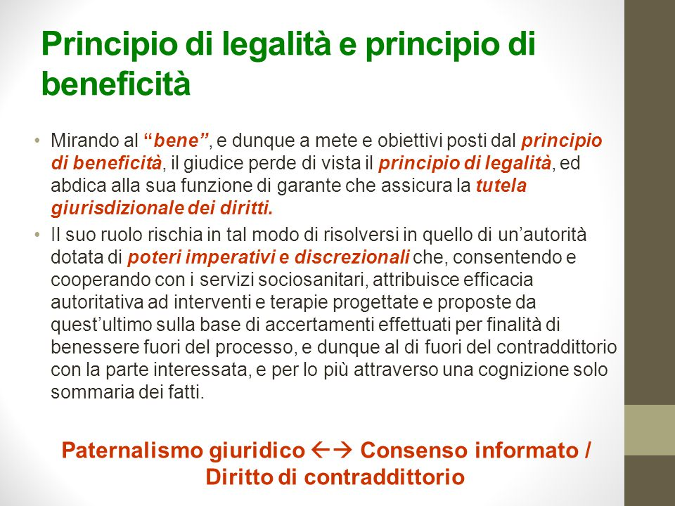 Principio di legalità e principio di beneficità