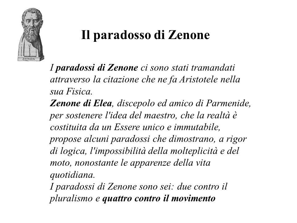 Il paradosso di Zenone I paradossi di Zenone ci sono stati tramandati attraverso la citazione che ne fa Aristotele nella sua Fisica.