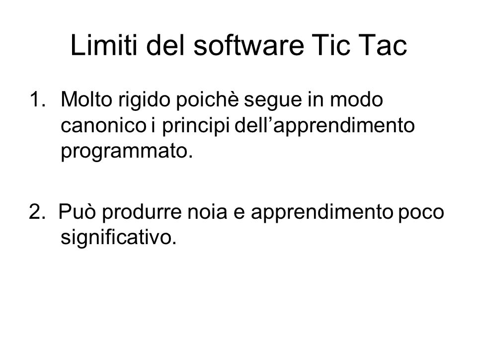 Limiti del software Tic Tac