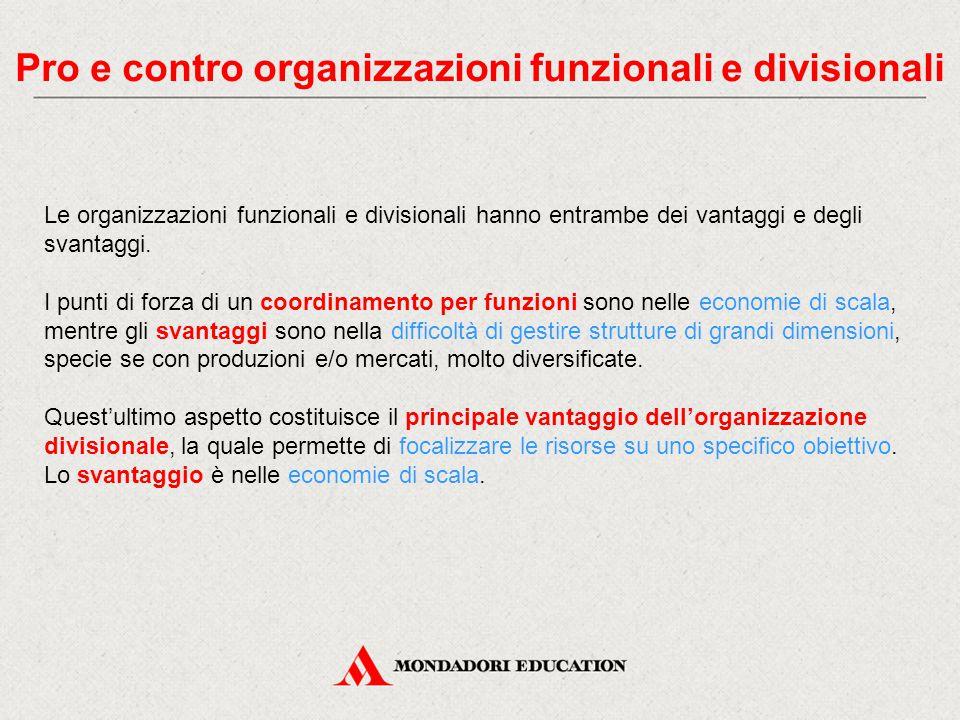 Pro e contro organizzazioni funzionali e divisionali
