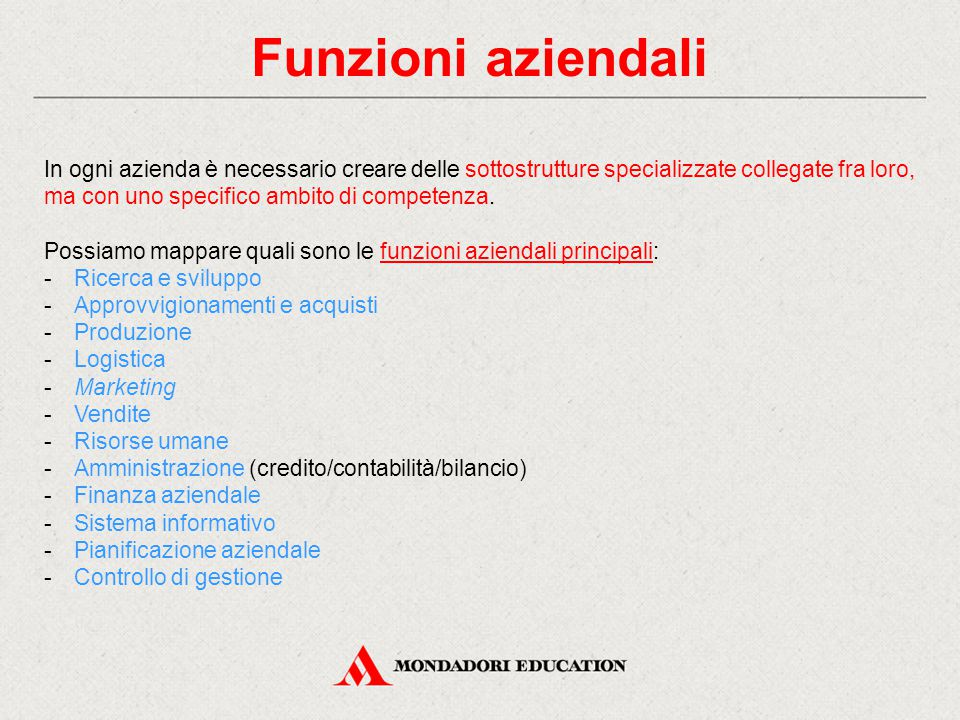 Funzioni aziendali