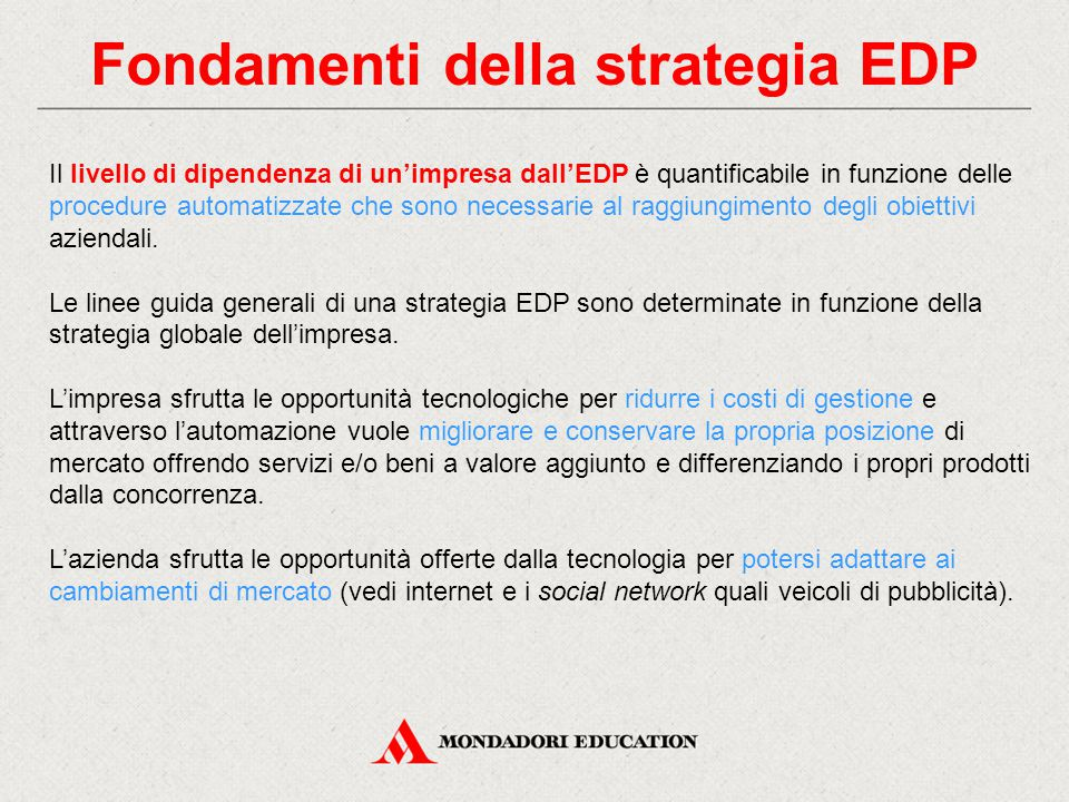 Fondamenti della strategia EDP