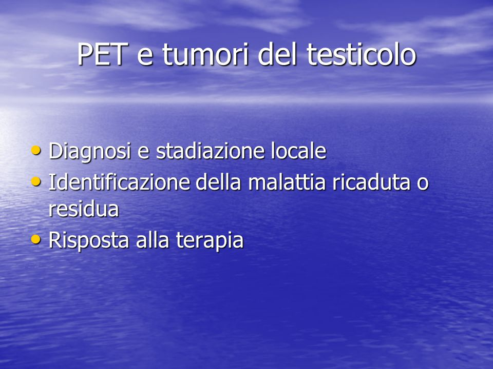PET e tumori del testicolo