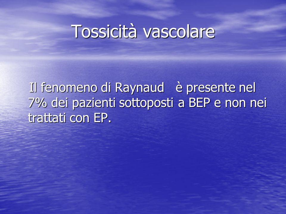 Tossicità vascolare Il fenomeno di Raynaud è presente nel 7% dei pazienti sottoposti a BEP e non nei trattati con EP.