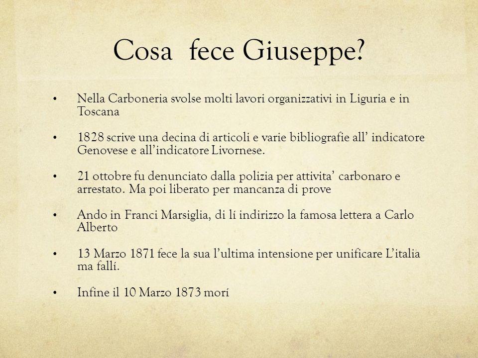 Cosa fece Giuseppe Nella Carboneria svolse molti lavori organizzativi in Liguria e in Toscana.